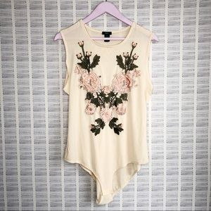 Rue 21 Nude embroidered Bodysuit